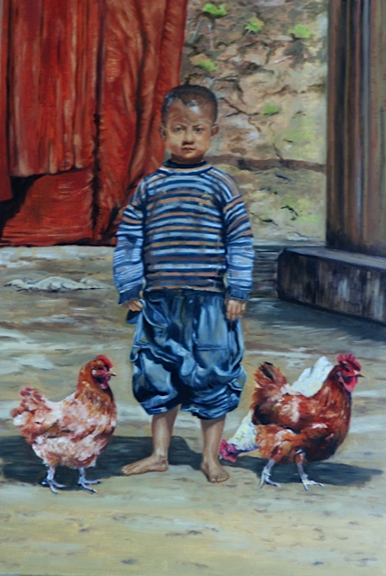 Burma Boy & His Chickens